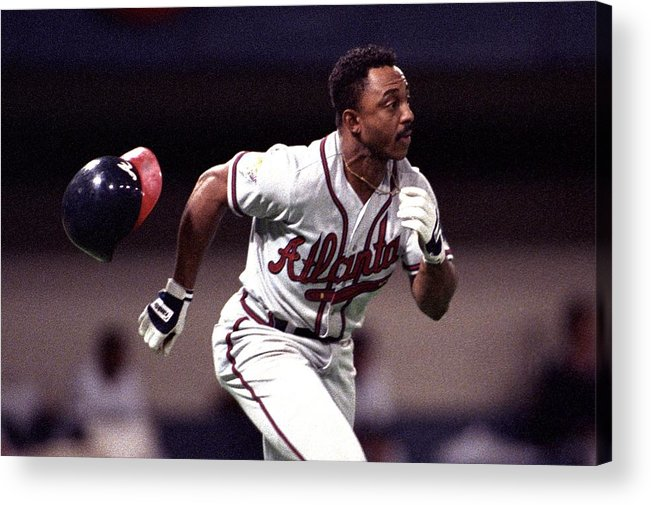 American League Baseball Acrylic Print featuring the photograph Atlanta Braves V Minnesota Twins by Ronald C. Modra/sports Imagery