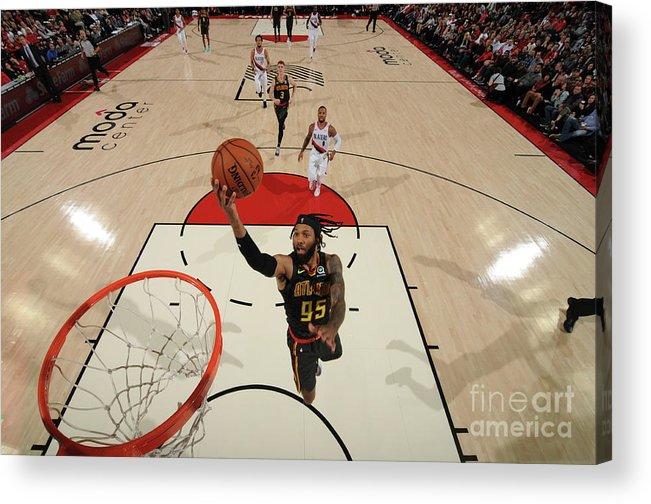 Nba Pro Basketball Acrylic Print featuring the photograph Atlanta Hawks V Portland Trail Blazers by Cameron Browne