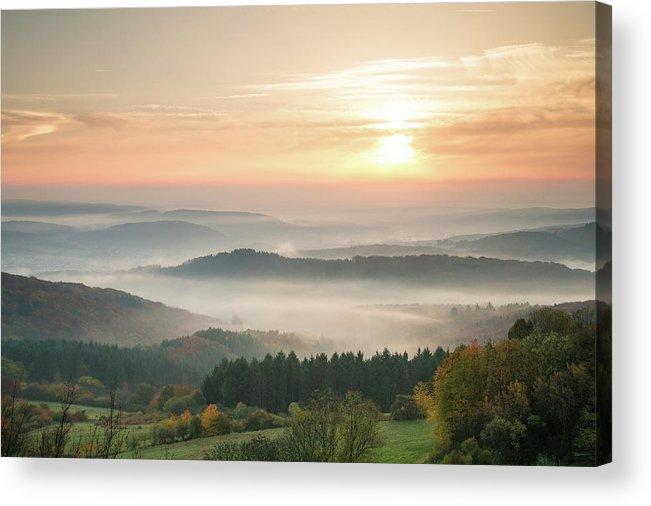 Scenics Acrylic Print featuring the photograph Autumn Foggy Sunrise by Marcoschmidt.net