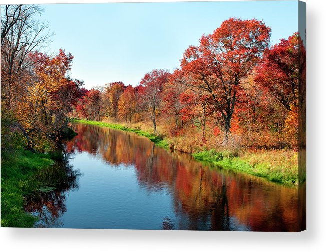Water's Edge Acrylic Print featuring the photograph Autumn In Wisconsin by Jenniferphotographyimaging