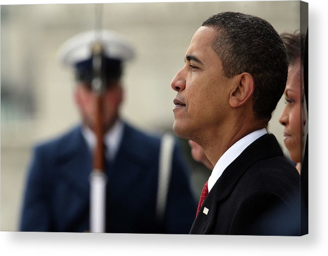 Looking Acrylic Print featuring the photograph Barack Obama Is Sworn In As 44th by John Moore