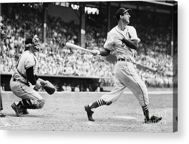 St. Louis Cardinals Acrylic Print featuring the photograph Batter Stan Musial And Catcher Wes by Bettmann