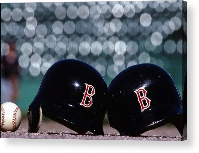 Headwear Acrylic Print featuring the photograph Batting Helmets by Ronald C. Modra/sports Imagery