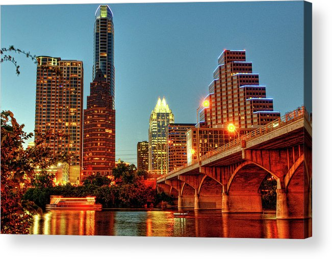 Arch Acrylic Print featuring the photograph Below Congress Avenue Bridge by David Hensley
