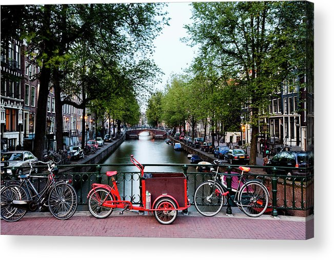 North Holland Acrylic Print featuring the photograph Bicycles Parked On Bridge Over by Jorg Greuel