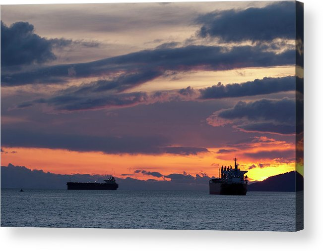 Scenics Acrylic Print featuring the photograph Big Boat Silhouettes by Visualcommunications