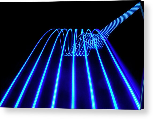 Laser Acrylic Print featuring the photograph Blue Abstract Coloured Lights Trails by John Rensten