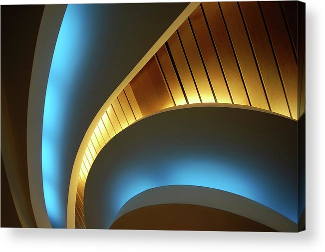 Curve Acrylic Print featuring the photograph Blue Swirl by Copyright Ralph Grunewald