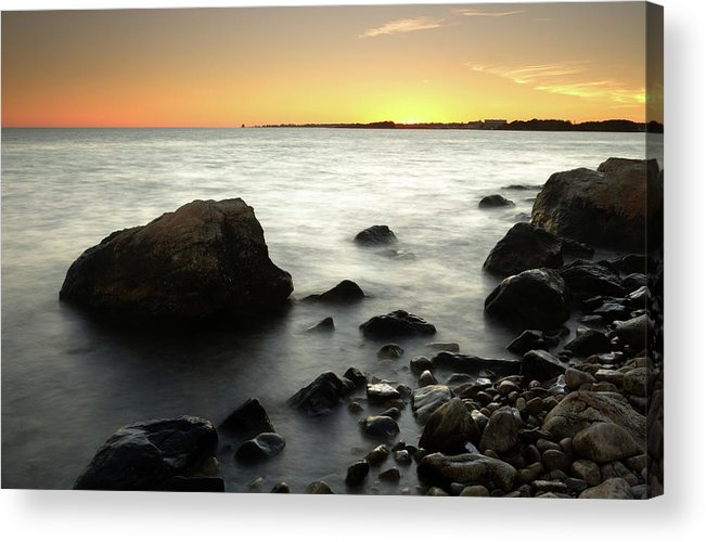 Water's Edge Acrylic Print featuring the photograph Bluff Point Sunset by Ericfoltz