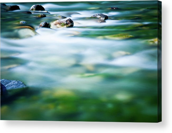 Scenics Acrylic Print featuring the photograph Blurred River by Assalve