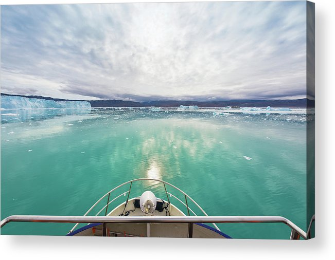 Scenics Acrylic Print featuring the photograph Boat Bow View Eqi Glacier Sermia by Mlenny