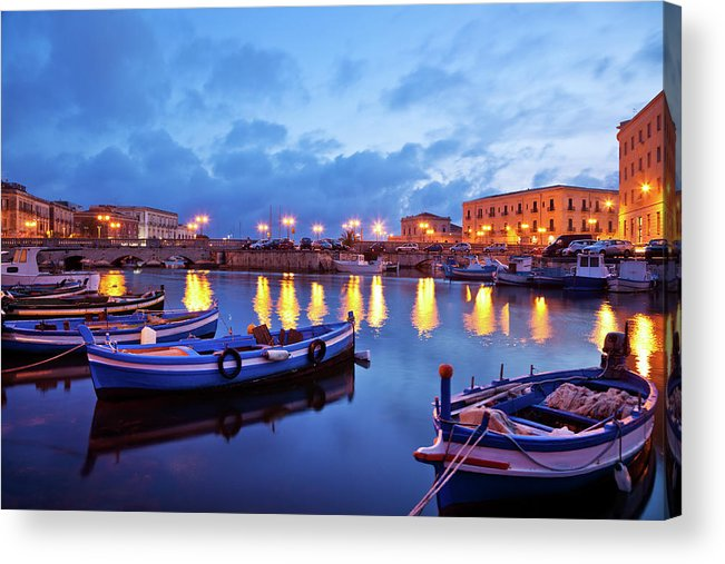 Sicily Acrylic Print featuring the photograph Boats In Sicily, Italy by Nikada