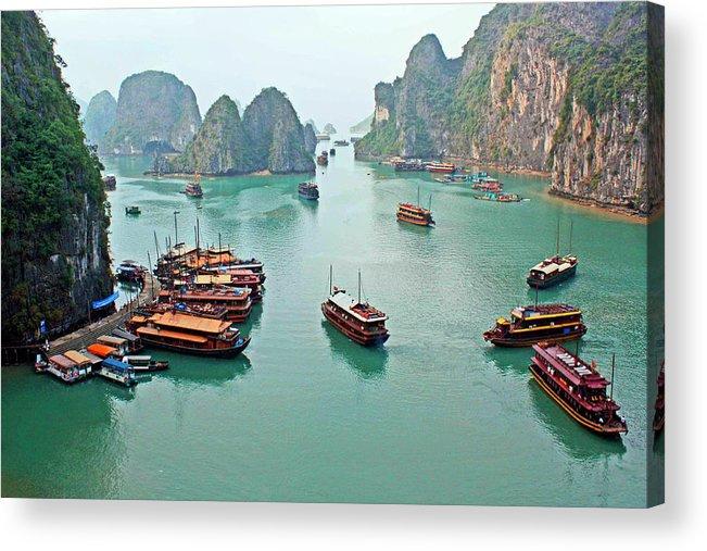 Tranquility Acrylic Print featuring the photograph Boats Of Halong Bay by Joe Regan