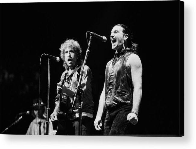 Concert Acrylic Print featuring the photograph Bob Dylan Performs With U2 In Concert by George Rose