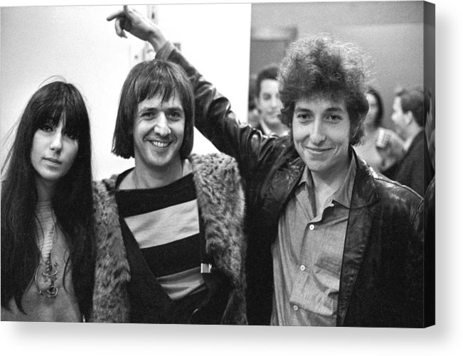 Three Quarter Length Acrylic Print featuring the photograph Bob Dylan With Sonny & Cher by Michael Ochs Archives