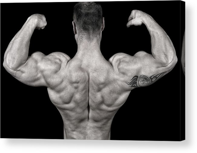 Toughness Acrylic Print featuring the photograph Bodybuilder Posing by Vuk8691