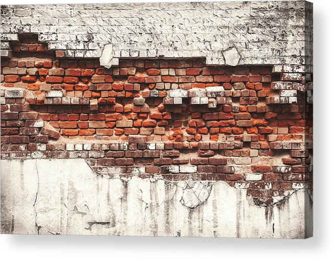 Tranquility Acrylic Print featuring the photograph Brick Wall Falling Apart by Ty Alexander Photography