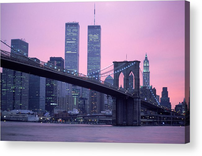 Dawn Acrylic Print featuring the photograph Brooklyn Bridge, Twin Towers, Nyc, Ny by Barry Winiker