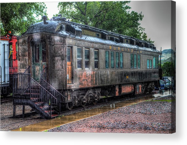 Train Museum Acrylic Print featuring the photograph Burlington Passenger Car by G Wigler