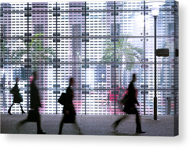 People Acrylic Print featuring the photograph Business People Passing Modern Office by Eschcollection