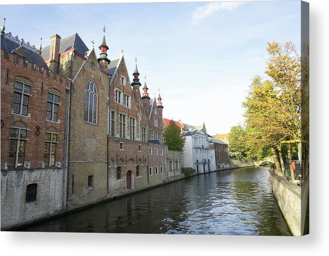 Old Town Acrylic Print featuring the photograph Canal In The Old Town Of Brugge by Christof Koepsel