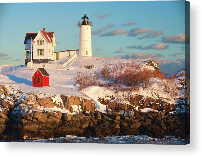 Snow Acrylic Print featuring the photograph Cape Neddick Nubble Light by Kickstand