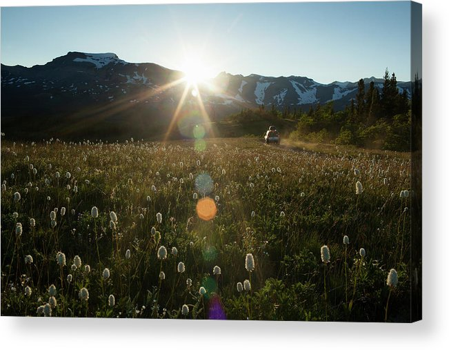 Scenics Acrylic Print featuring the photograph Car On Rural Dirt Road In Mountains At by Noah Clayton