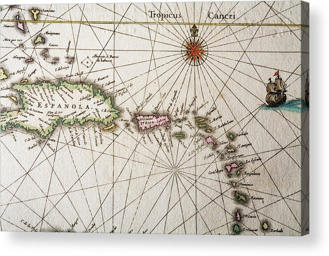 Engraving Acrylic Print featuring the digital art Carribean Islands by Goldhafen