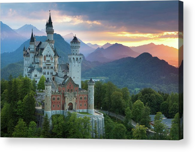 Scenics Acrylic Print featuring the photograph Castle Neuschwanstein With A Dramatic by Ingmar Wesemann