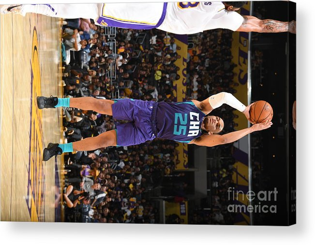 Nba Pro Basketball Acrylic Print featuring the photograph Charlotte Hornets V Los Angeles Lakers by Andrew D. Bernstein