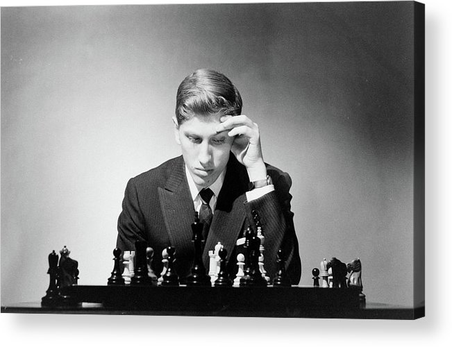 Chess Acrylic Print featuring the photograph Chess Champion Robert J. Fisher Playing by Carl Mydans