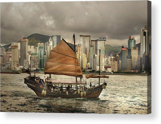 Sailboat Acrylic Print featuring the photograph China, Hong Kong, Junk Boat In Bay by Maremagnum