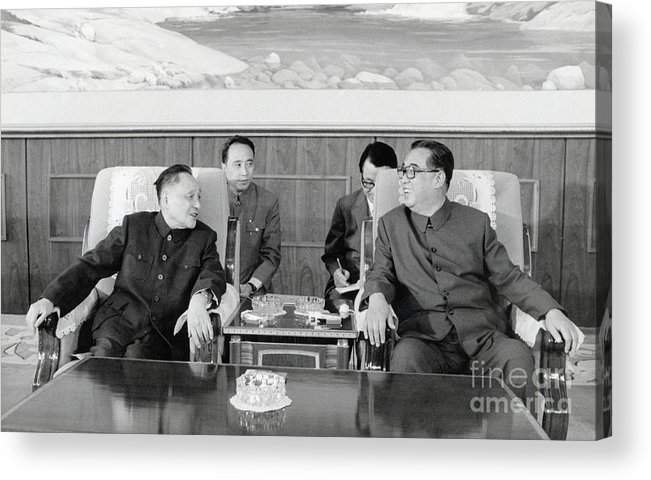 People Acrylic Print featuring the photograph Chinese And Korean Leaders by Bettmann