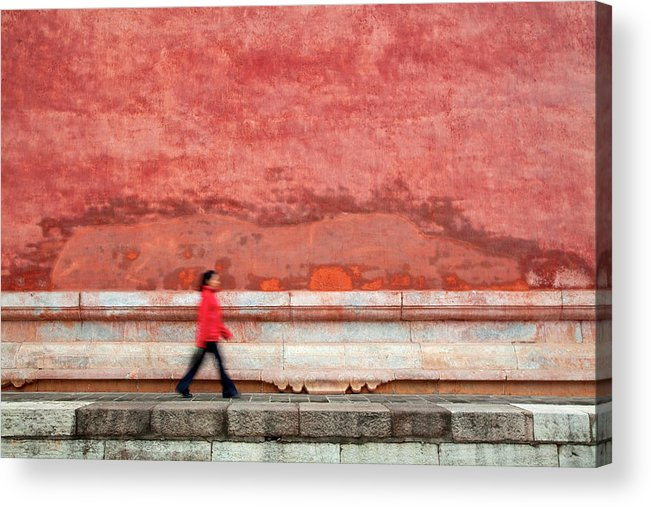 People Acrylic Print featuring the photograph Chinese Young Lady Walking By Monument by Grant Faint