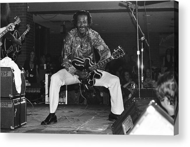 1980-1989 Acrylic Print featuring the photograph Chuck Berry Performs Live by Richard Mccaffrey