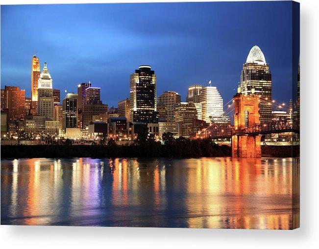 Downtown District Acrylic Print featuring the photograph Cincinnati Skyline, Ohio by Veni