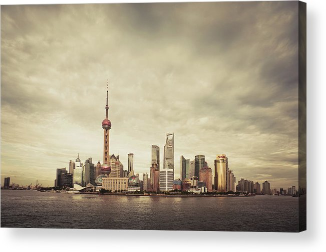 Communications Tower Acrylic Print featuring the photograph City Skyline At Sunset, Shanghai, China by D3sign
