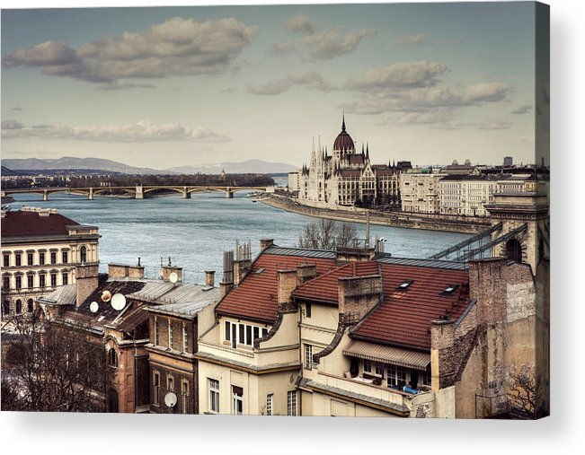 Tranquility Acrylic Print featuring the photograph Cityscape Of Budapest by By Matthew Heptinstall