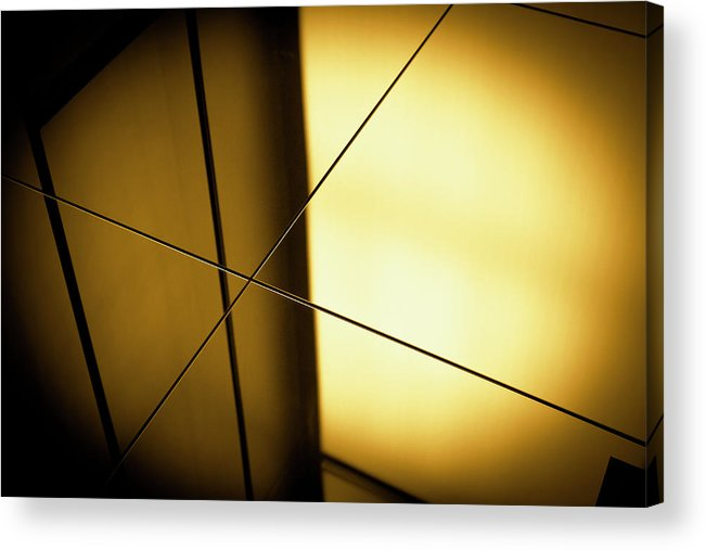 Shadow Acrylic Print featuring the photograph Close-up Spot Lit Reflection In Yellow by Ralf Hiemisch