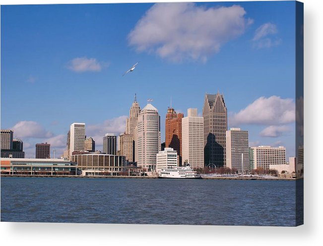 Downtown District Acrylic Print featuring the photograph Cold Detroit by Corfoto