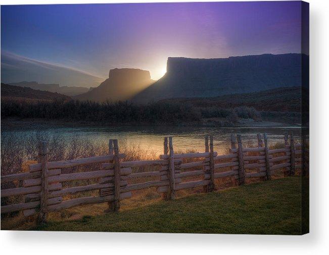 Scenics Acrylic Print featuring the photograph Colorado River Sunrise, Moab, Utah, Usa by Fotomonkee