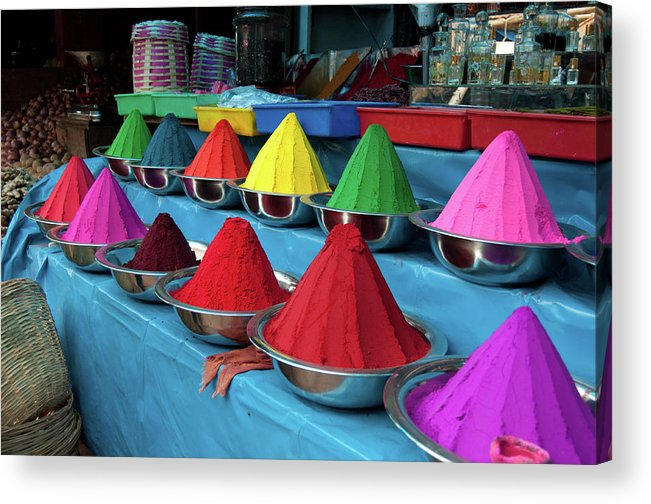In A Row Acrylic Print featuring the photograph Colorful Dyes At Indian Market by Photo By Meredith Narrowe