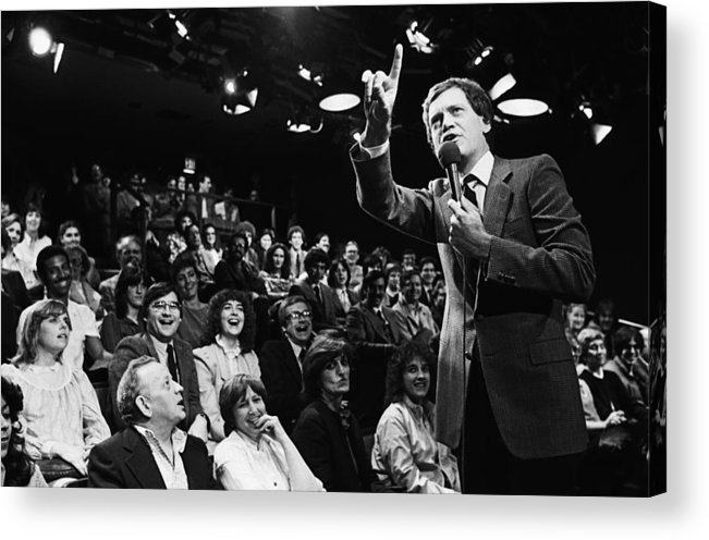 1980-1989 Acrylic Print featuring the photograph Comedian David Letterman Warms Up Tv by George Rose