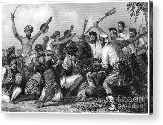 Event Acrylic Print featuring the drawing Conflict With The Ghazees by Print Collector