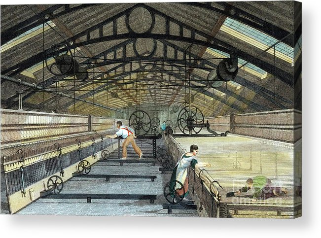 Working Acrylic Print featuring the drawing Cotton Manufacture Mule Spinning, C1830 by Print Collector