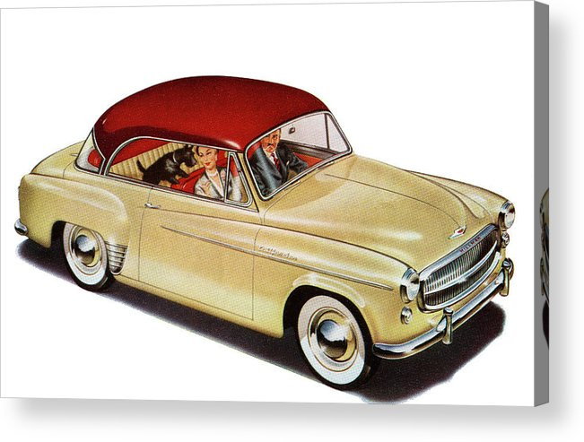 Pets Acrylic Print featuring the photograph Couple In Car With Scotty Dog by Graphicaartis
