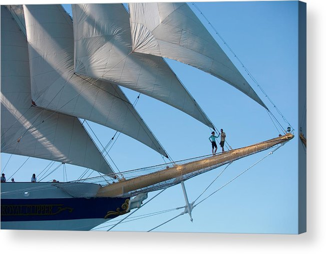 Heterosexual Couple Acrylic Print featuring the photograph Couple On Bowsprit Of Sailing Ship by Holger Leue