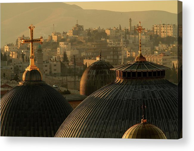 West Bank Acrylic Print featuring the photograph Crosses And Domes In The Holy City Of by Picturejohn