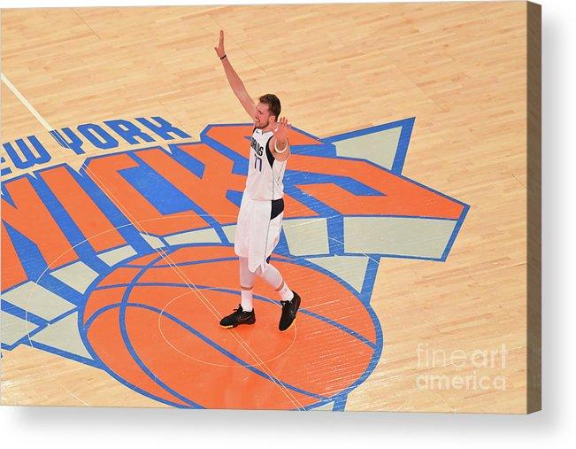 Nba Pro Basketball Acrylic Print featuring the photograph Dallas Mavericks V New York Knicks by Jesse D. Garrabrant