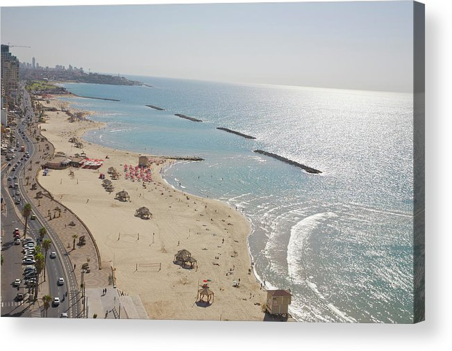 Tranquility Acrylic Print featuring the photograph Day View Of Tel Aviv Promenade And Beach by Barry Winiker